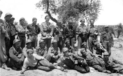 oficiales del batallón británico en la Batalla del Jarama
