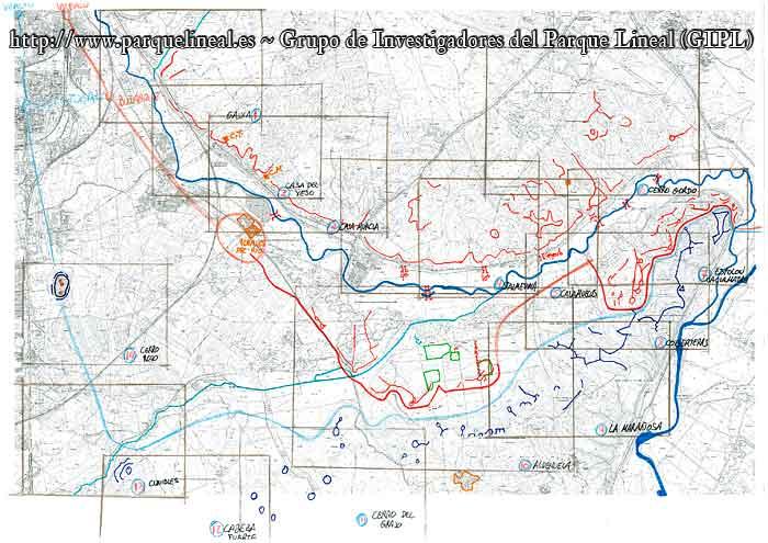 mapa trincheras frente del manzanares en madrid