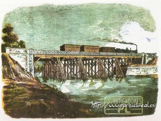 puente de madera, ferrocarril aranjuez sobre el manzanares