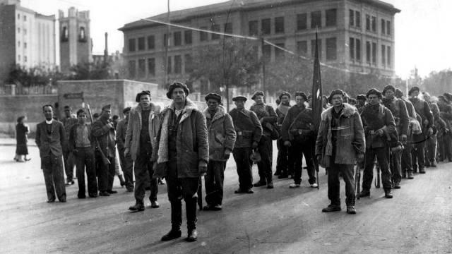 El Batallón Thälmann a su llegada a Madrid (Nov36).