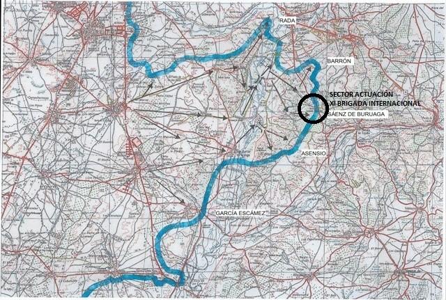 Línea Final del Frente y Sector donde actuó la XI Brigada Internacional.