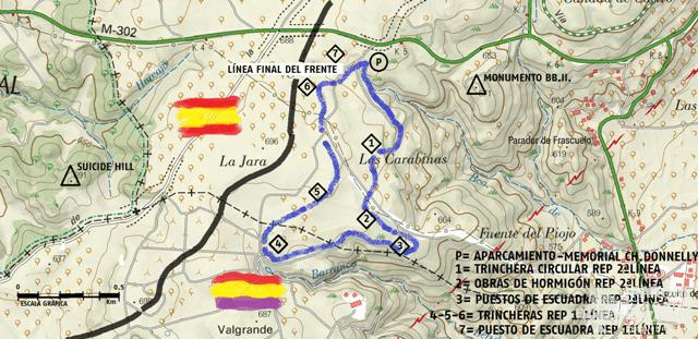 Mapa de la ruta, con los hitos visitados.